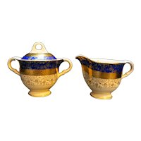 Bromley Cobalt Blue Gold Courting Couple Cream Sugar