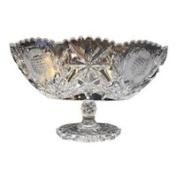 American Brilliant Period Cut Glass Flower Leaves Oval Compote