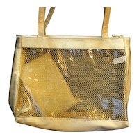 Gold Vinyl Clear Mesh Handbag With Coin Purse