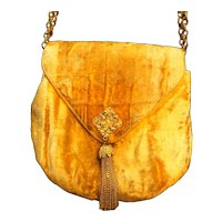 Morris Moskowitz MM Gold Velvet Evening Bag Purse