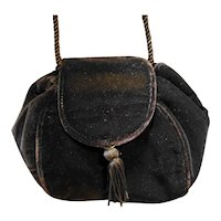 Black Velvet Pouch Evening Bag Purse Cord Strap