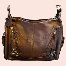 Deep Chocolate Brown Genuine Leather Purse Shoulder Bag