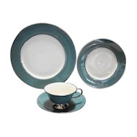Flintridge Teal Platinum Dinner Plate Cup Saucer