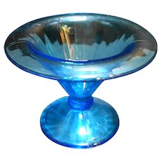 Sky Capri Blue Paneled Optic Rolled Rim Small Compote Depression Glass