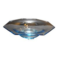 Light Blue Octagon Depression Glass Serving Bowl 11 IN