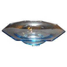 Light Blue Octagon Depression Glass Serving Bowl 11 IN