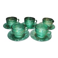 Tiara Exclusive Spruce Green Sandwich Cups Saucers Set of 5
