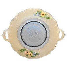 Indiana Glass Teardrop Handled Cake Plate Painted Flowers White Blue