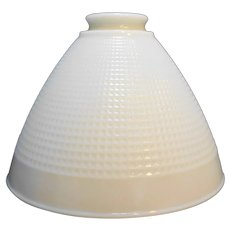 Corning Torchiere Lamp Shade White Milk Glass Waffle
