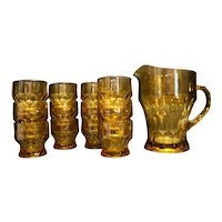 Anchor Hocking Amber Topaz Georgian Honeycomb Pitcher Juice Glasses Set of 12