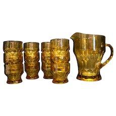 Anchor Hocking Amber Topaz Georgian Honeycomb Pitcher Juice Glasses Set of 12