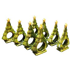 Christmas Tree Green Glazed Ceramic Napkin Holders Set of 8