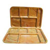 Pikes Peak Plastics Cafeteria Trays Pair Brown Red Marbled Swirl