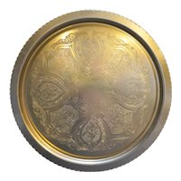 Gold Colored Anodized Aluminum Floral Engraved Round TRay