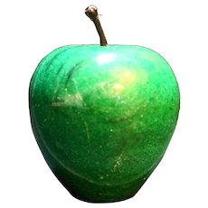Dark Green Apple Carved Stone Marble Paperweight