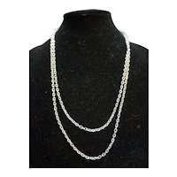 Silver Tone Chain Link Necklace 50""
