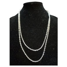 """Silver Tone Chain Link Necklace 50"""""""