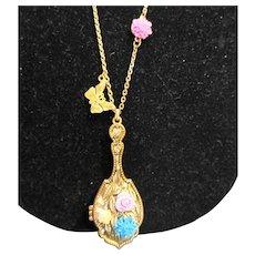 Belle du Jour Gold Tone Mirror Locket Necklace Roses