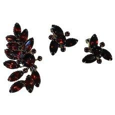Deep Ruby Red Rhinestones Large Pin Earrings Set