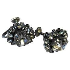 Clear Rhinestone Circle Earrings Screwbacks