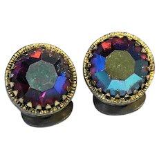 Watermelon Rhinestone Aurora Borealis Round Gold Tone Filigree Earrings