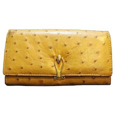 Genuine Ostrich Tan Leather Ladies Wallet