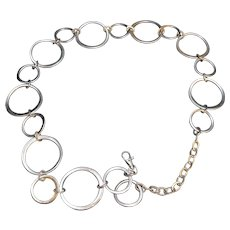 Silver Tone Chain Circles Belt