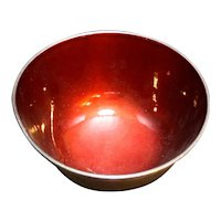 Towle Silver Plate 5002 Deep Red Enamel Revere Bowl