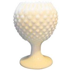 Fenton Hobnail Milk Glass Ivy Ball Vase 5 4/5 IN Crimped Rim