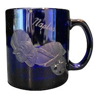 Naples, FL Cobalt Blue Souvenir Cut Glass Seashell Mug