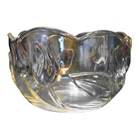 Mikasa Tivoli Deep Round Serving Bowl Crystal Tulips Stained Blue Green Pink