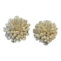 Freshwater Cultured Pearl Rice Grain Beads Cluster Clip Earrings