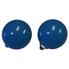 Sky Blue Domed Metal Clip Earrings