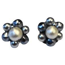 Silver Gray Faux Pearl Bead Earrings Clips Japan