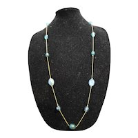 Blue Green Faceted Plastic Lucite Bead Necklace Gold Tone Chain