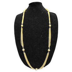 Gold Tone Fluted Crimped Ball Beads Multi Chain Long Necklace