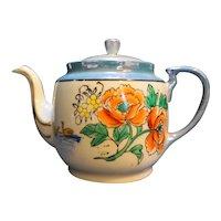 Blue Lustre Japan Hand Painted Flowers Teapot Porcelain
