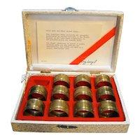 Spiegel Brass Napkin Ring Set of 11 in Presentation Box Vintage