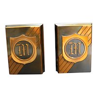 Copper Embellished M Monogram Initial Letter Bookends Pair Metal