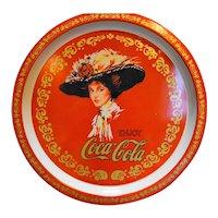 Enjoy Coca-Cola Round Tray Red Gold Lady 1982 Hong Kong