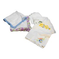 Vintage Hankies Group of 5 Tatted Embroidered Cotton Linen