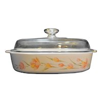 Corning Peach Floral A-10-B 2.5 L 2.5 Qt Casserole With Lid