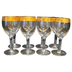 Gold Encrusted Rim Wine Glasses Set of 8