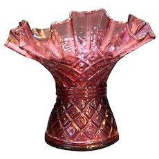 Fenton Diamond Lace Cranberry Ruffled Vase
