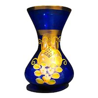 Bohemian Art Glass Cobalt Blue Hand Painted Enamel Flowers Gilded Vase