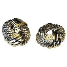 Gold Tone Twist Knot Clip Earrings