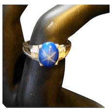 Faux Star Sapphire 18 KT HGE Ring