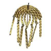Sarah Coventry Gold Tone Leaf Palm Frond Dangle Pin