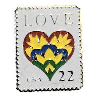 1987 Love USA 22 Cent Stamp Pin