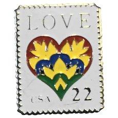 1987 Love USA 22 Cent Stamp Pin